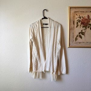 Adorable BKE tulle Detailed knit cardigan